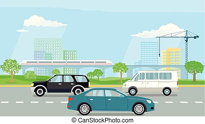 Schnell-Strasse.eps - Expressway in the city illustration