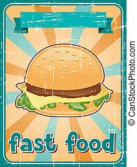 schnellessen, hintergrund, mit, hamburger, in, retro, style.
