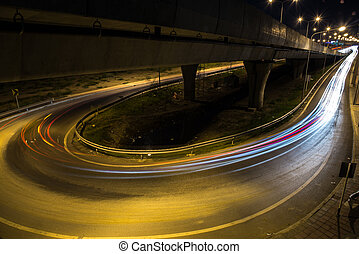 schnellstraße, straße, nacht