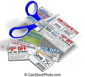 schnitt, coupon, verkauf, schere, kupons, heraus