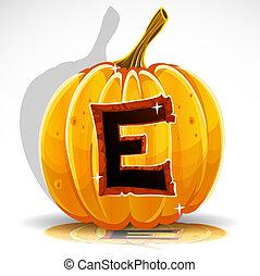 schnitt, e, halloween, pumpkin., schriftart, heraus