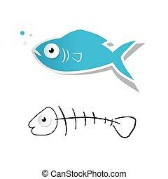 schnitt, fische, fishbone, freigestellt, abbildung, papier,...