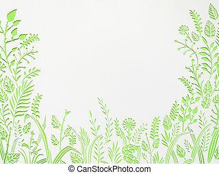 schnitt, frame., blätter, papier, grüner hintergrund, blumen-, weißes