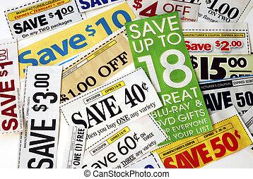 schnitt, geld, einige, auf, retten, kupons