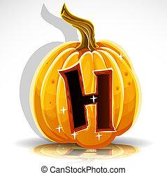 schnitt, h, halloween, pumpkin., schriftart, heraus