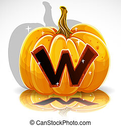 schnitt, halloween, pumpkin., w, schriftart, heraus