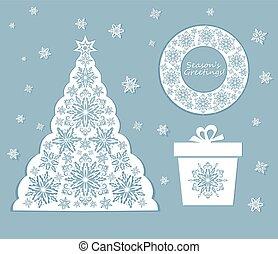 schnitt, laser, schneeflocken, satz, weihnachten, heraus