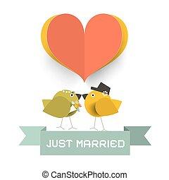 schnitt, liebe, geheiratet, gehört, papier, vögel, karte