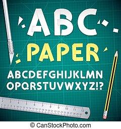 schnitt, satz, alphabet, ausrüstung, papier, heraus