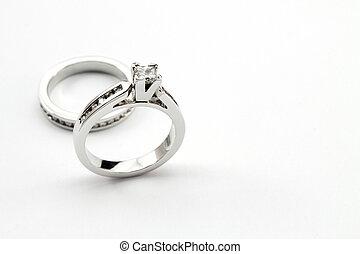 schnitt, satz, weißer hintergrund, diamant solitaire, ring, ...