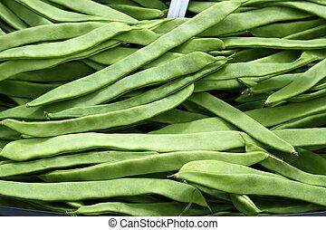 schnittbohnen, gemüse, beschaffenheit, in, spanien, markt