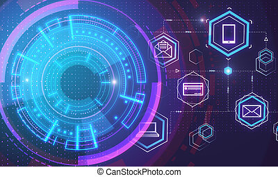 schnittstelle, blockchain, digital