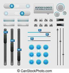 schnittstelle, elemente, design, benutzer