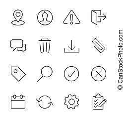 schnittstelle, set., strichen, ikone