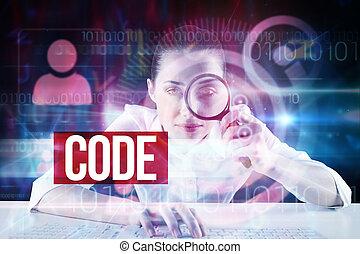 schnittstelle, technologie, wählscheibe, code, gegen, design...