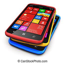 schnittstelle, touchscreen, modern, smartphones