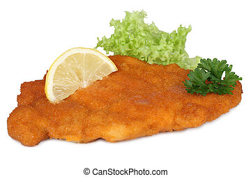 Schnitzel chop cutlet with lemon and lettuce isolated on a ...