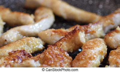 schnitzel, friture, poulet pané, poitrine