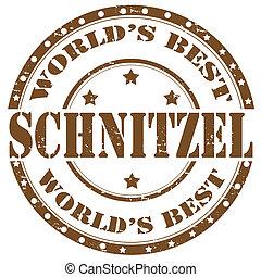 Grunge rubber stamp with word Schnitzel, vector illustration