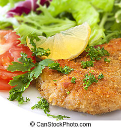 Schnitzel with Salad - Schnitzel with salad, garnished with ...