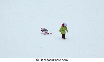 Schnur, Schnee, clipart kinderschlitten, zieht, m�dchen,...