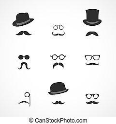 schnurrbärte, schnittstelle, hüte, elemente, brille