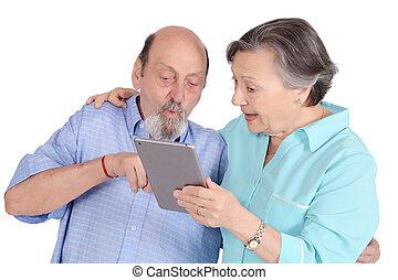 schockiert, ältere paare, mit, tablette pc