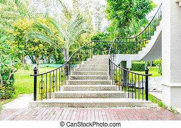 schod, abstraktní, zahrada, schod