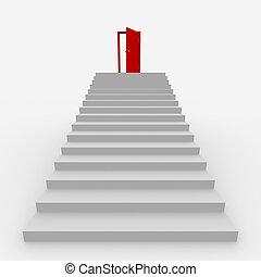 schodiště, do, ta, hlava