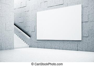 schody, biały, wewnętrzny, minimalistic, chorągiew