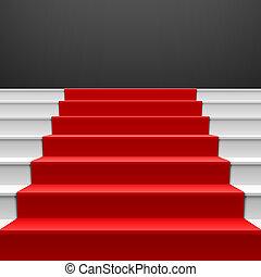 schody, czerwony dywan