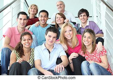 schody, ludzie, grupa, młody, posiedzenie