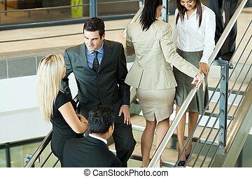 schody, pieszy, grupa, pracownicy, biuro