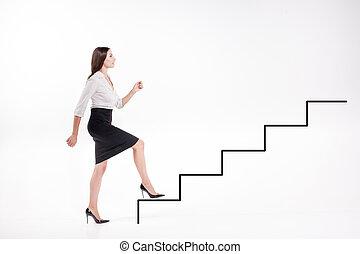 schody, pieszy, kobieta interesu, do góry, młody
