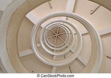 schody, spirala, zwyżkowy