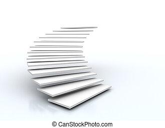 schody, tło, odizolowany, biały