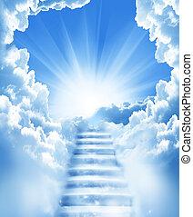 schody, w, niebo