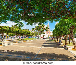 Schoelcher square in Sainte Anne, Guadeloupe. Guadeloupe is an archipelago that is part of the Lesser Antilles in the Caribbean sea