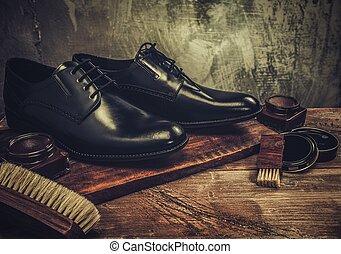 schoen, care, accessoires, op, een, wooden table