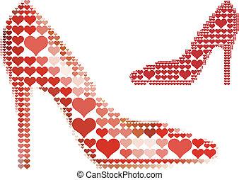 schoen, met, rood hart, model