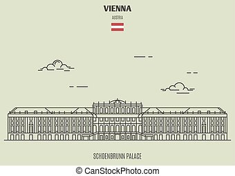 Schoenbrunn Palace in Vienna, Austria. Landmark icon