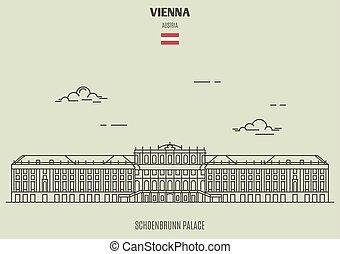 schoenbrunn, palacio, en, viena, austria., señal, icono