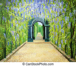 Schoenbrunn, The Palace Gardens - An oil painting on canvas...