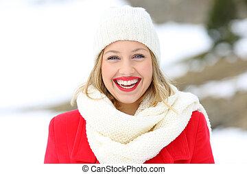 schoenheit, blond, anschauen, sie, in, winter