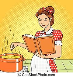 schoenheit, ehefrau, kochen, suppe, vektor, retro