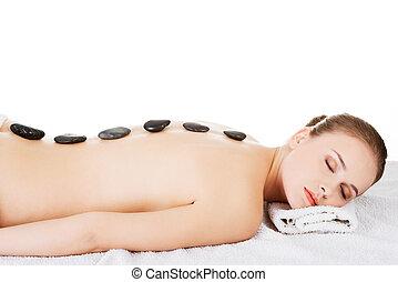 schoenheit, frau entspannung, in, spa., stein, massage.