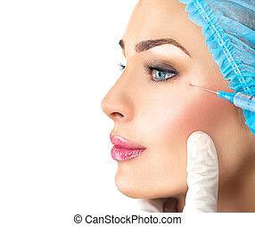 schoenheit, frau, erhält, gesichtsbehandlung, injections., kosmetologie