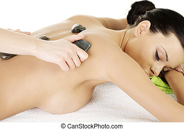 schoenheit, frau, in, spa., stein, massage.
