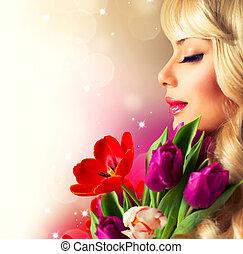schoenheit, frau, mit, frühlingsblume, blumengebinde