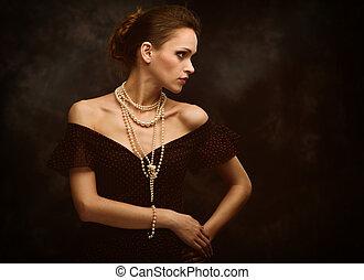 schoenheit, frau, mode, porträt